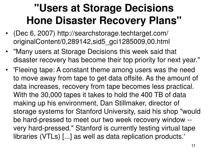 """Users at Storage Decisions"