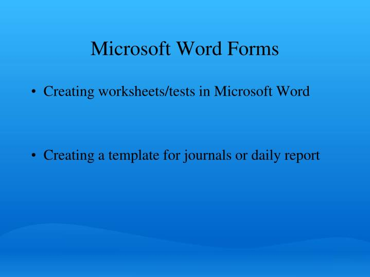 Microsoft Word Forms