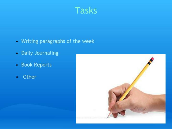 Writing paragraphs of the week