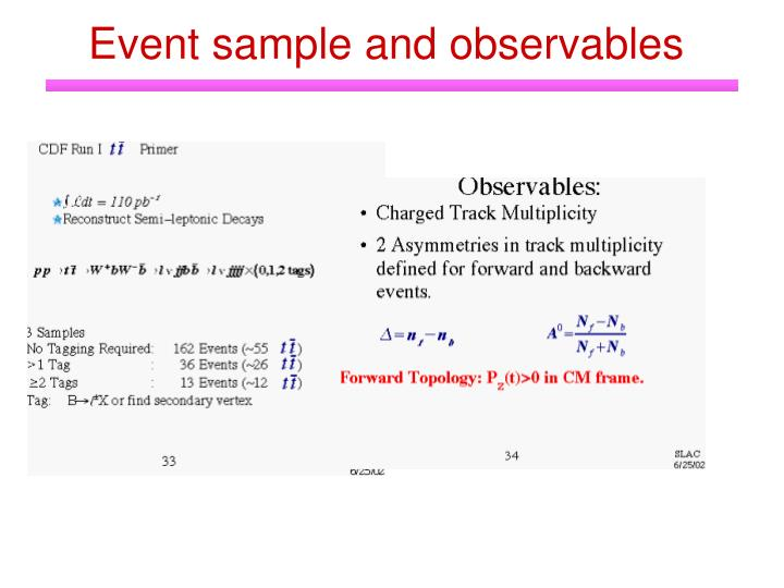 Event sample and observables