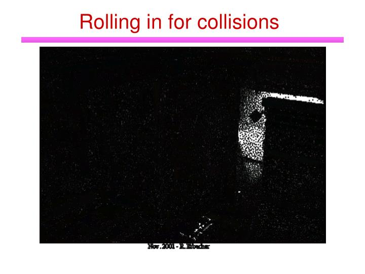 Rolling in for collisions