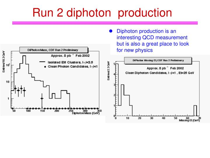 Run 2 diphoton  production