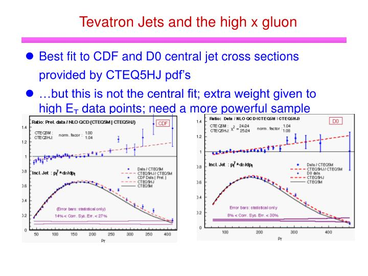 Tevatron Jets and the high x gluon