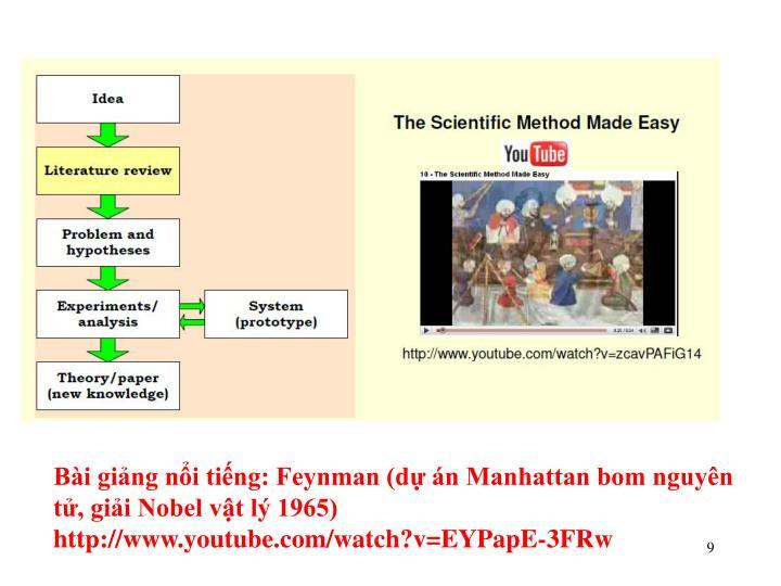 Bài giảng nổi tiếng: Feynman (dự án Manhattan bom nguyên tử, giải Nobel vật lý 1965)