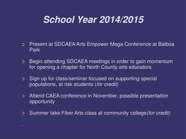 School Year 2014/2015