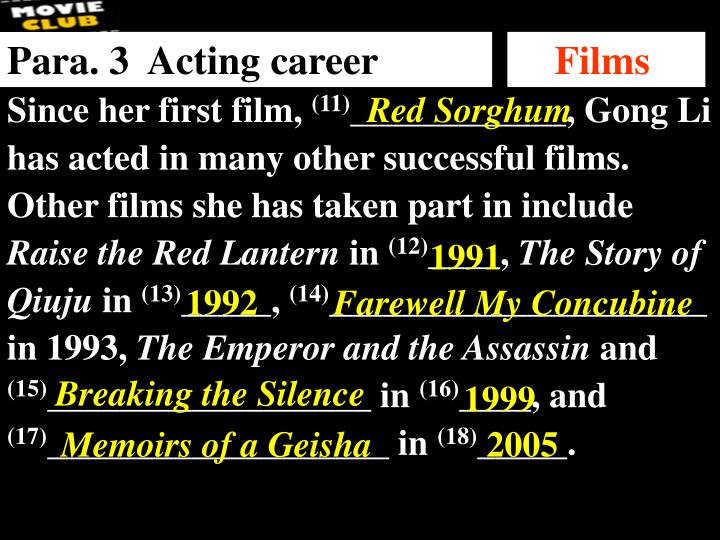 Para. 3  Acting career