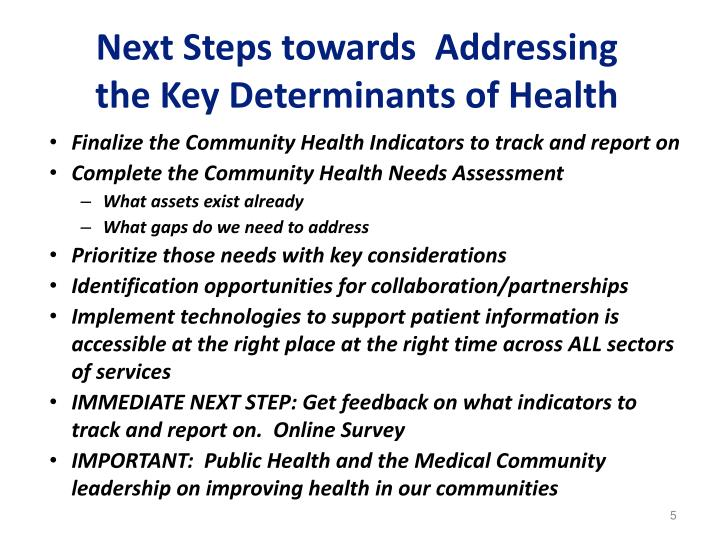 Next Steps towards  Addressing