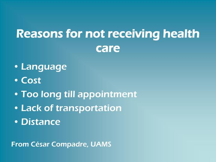 Reasons for not receiving health care