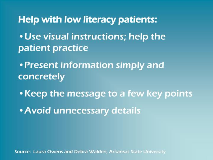 Help with low literacy patients: