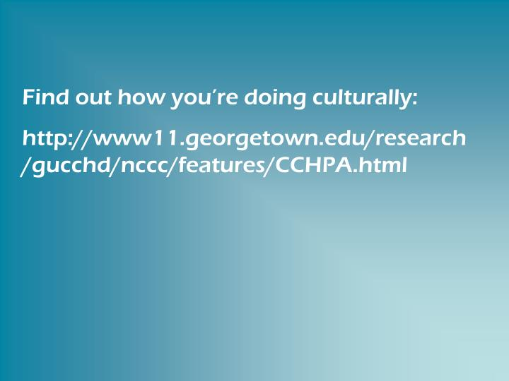 Find out how you're doing culturally: