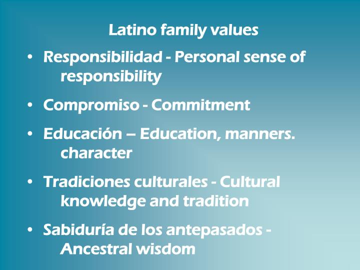 Latino family values