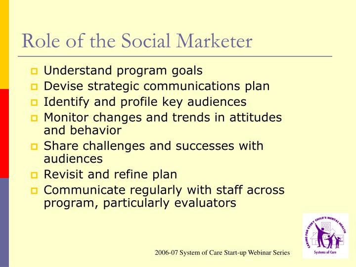 Role of the Social Marketer