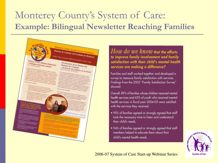 Monterey County's System of Care: