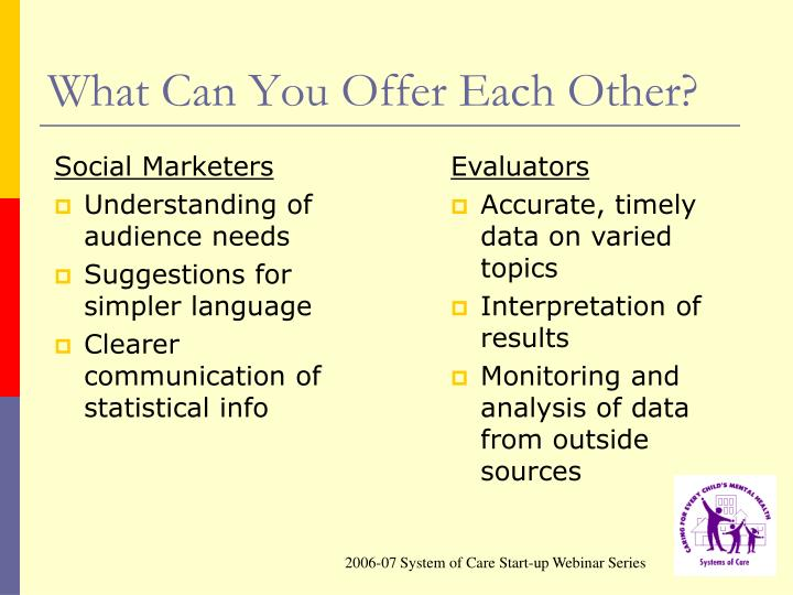 What Can You Offer Each Other?
