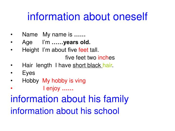 information about oneself