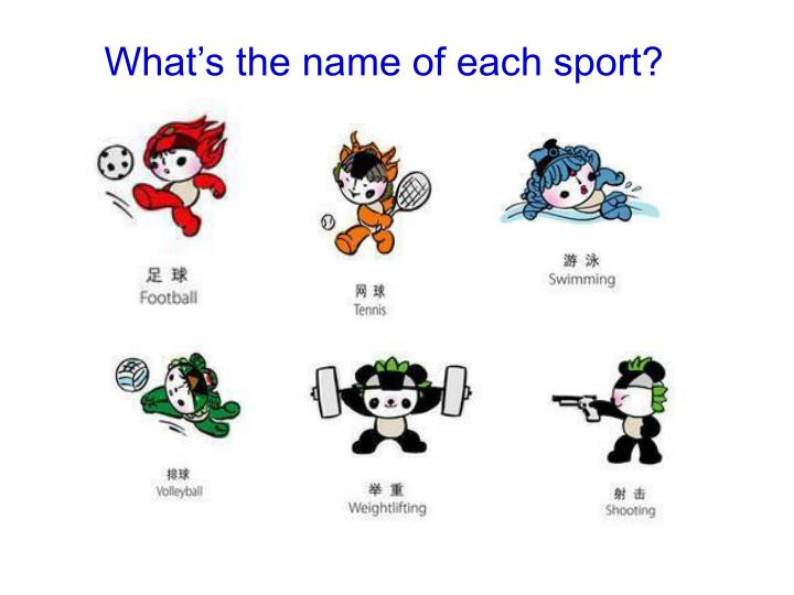 What's the name of each sport?