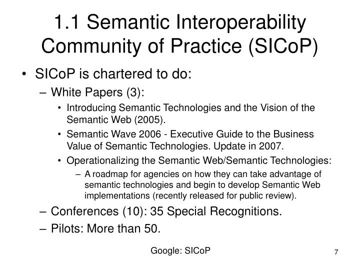 1.1 Semantic Interoperability Community of Practice (SICoP)
