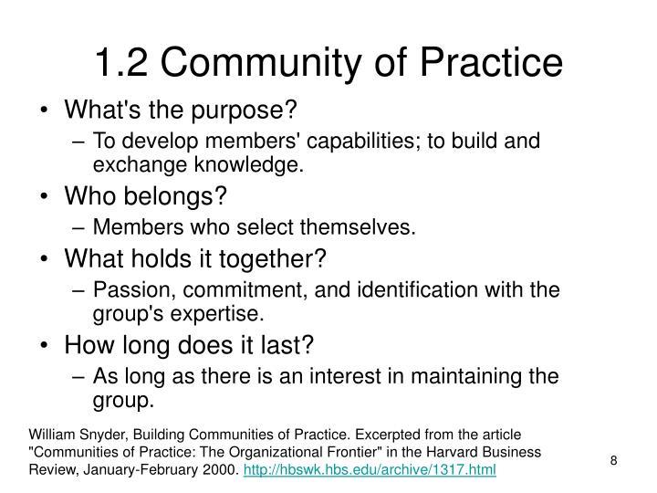 1.2 Community of Practice
