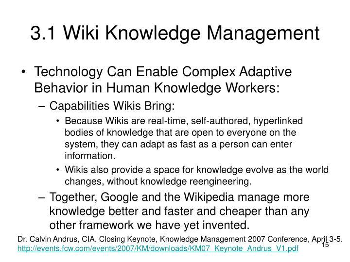 3.1 Wiki Knowledge Management