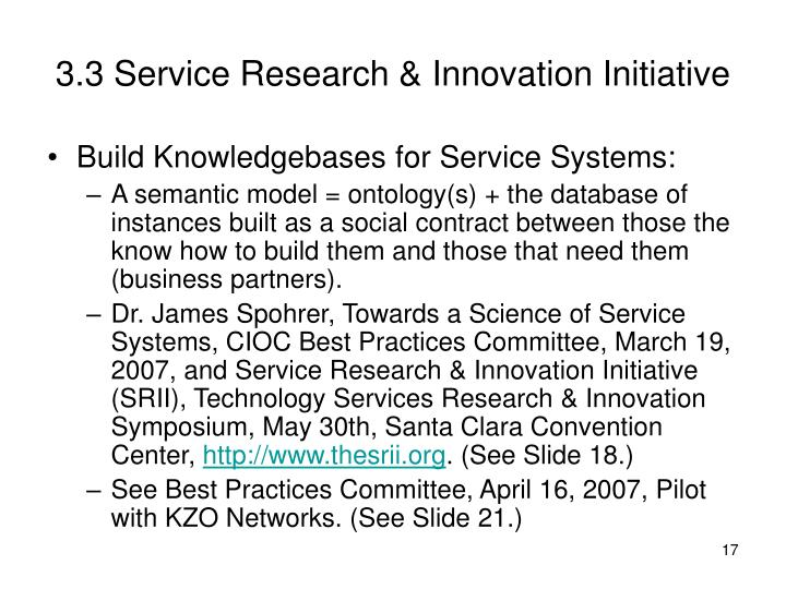 3.3 Service Research & Innovation Initiative