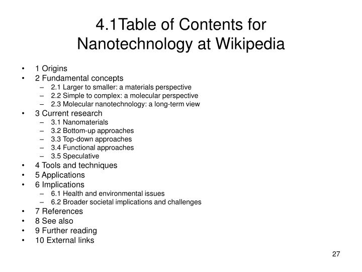 4.1Table of Contents for
