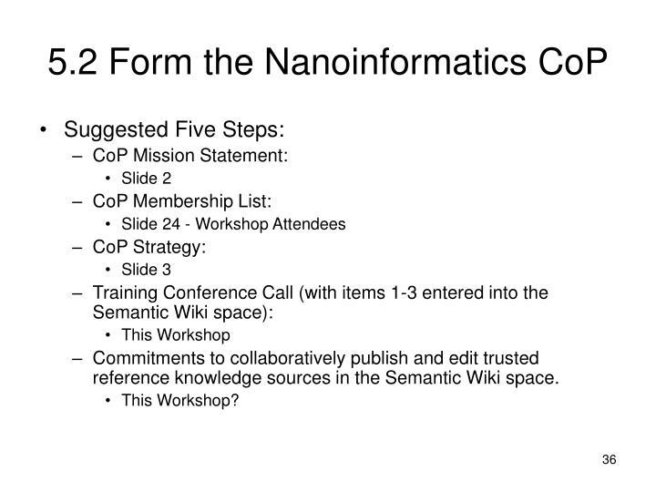 5.2 Form the Nanoinformatics CoP