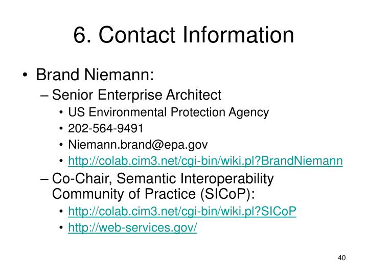 6. Contact Information