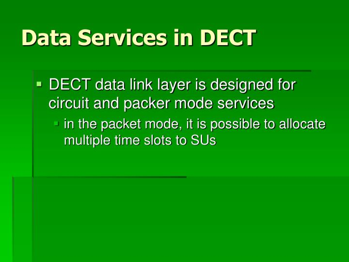 Data Services in DECT