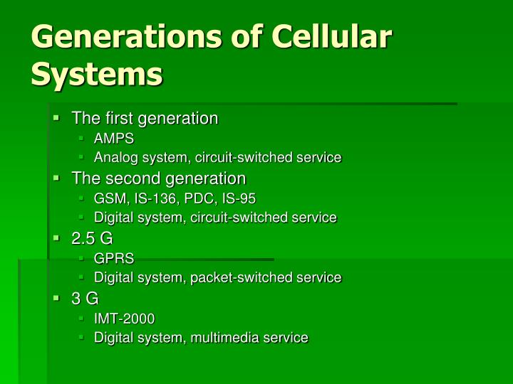 Generations of Cellular Systems