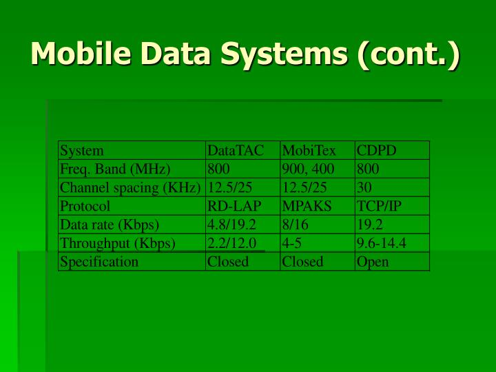 Mobile Data Systems (cont.)