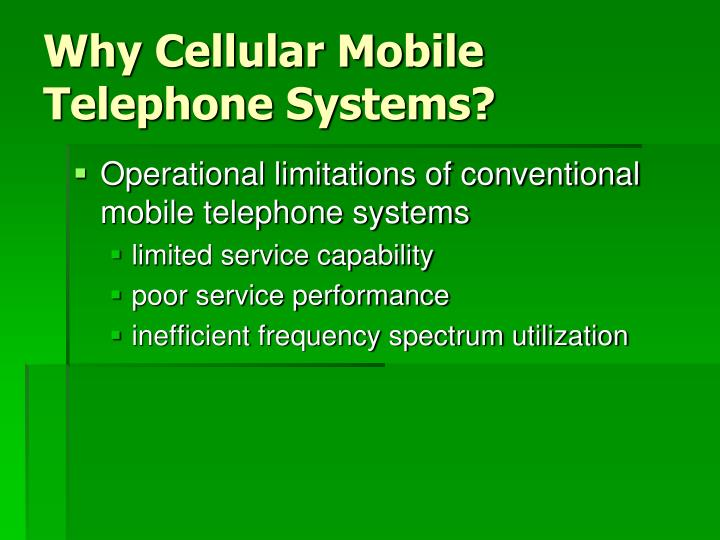 Why cellular mobile telephone systems