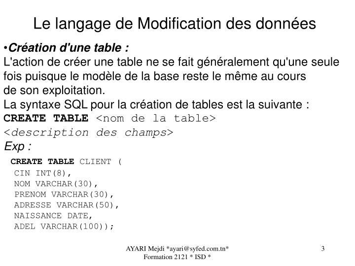 Le langage de Modification des données