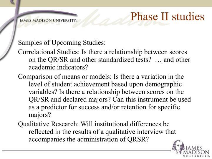 Phase II studies
