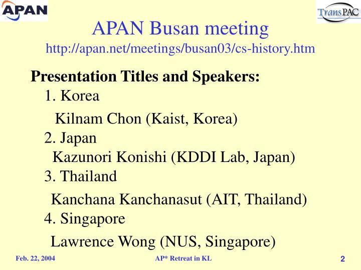 APAN Busan meeting