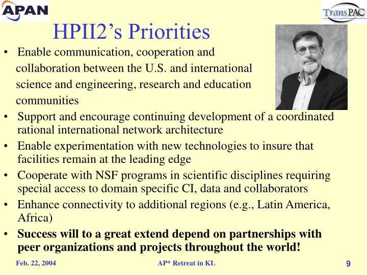 HPII2's Priorities