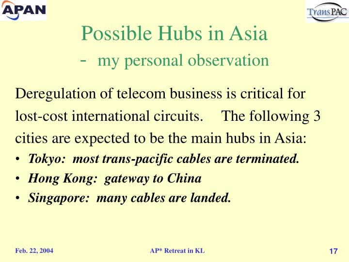 Possible Hubs in Asia