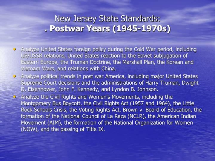 New jersey state standards postwar years 1945 1970s