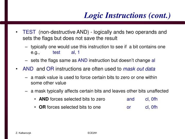 Logic Instructions (cont.)