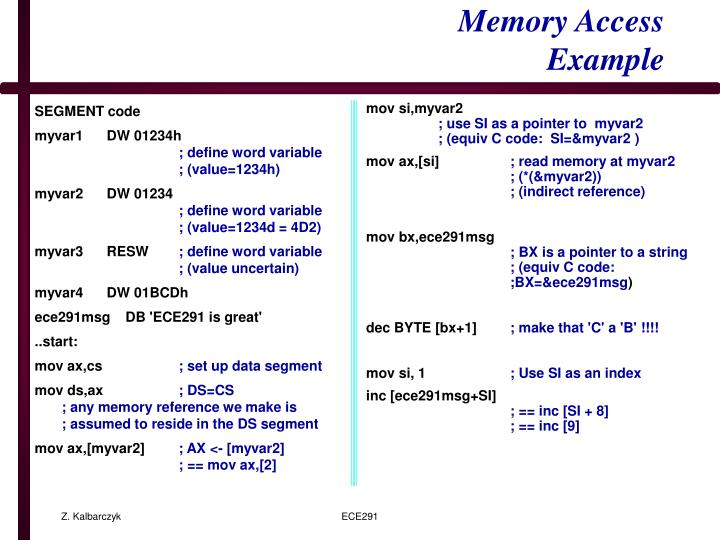 Memory access example