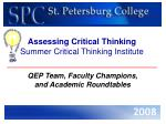 assessing critical thinking summer critical thinking institute1