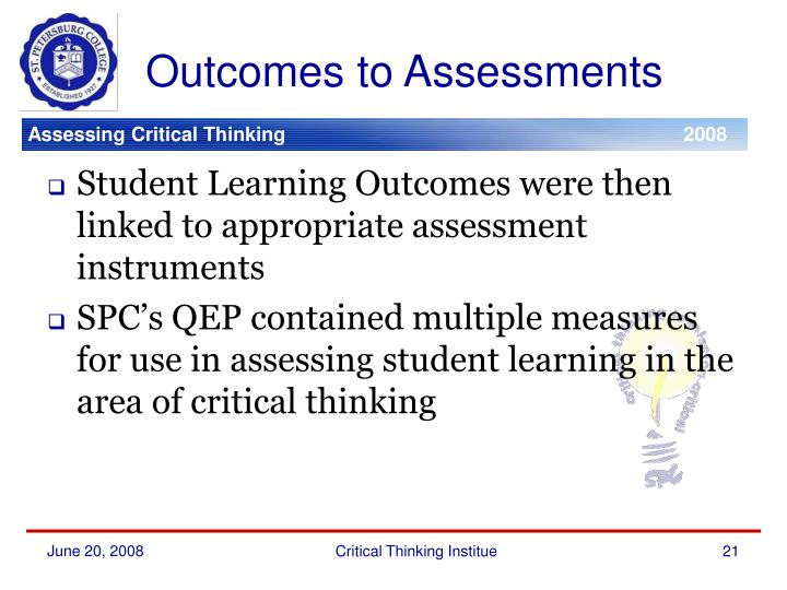 Outcomes to Assessments