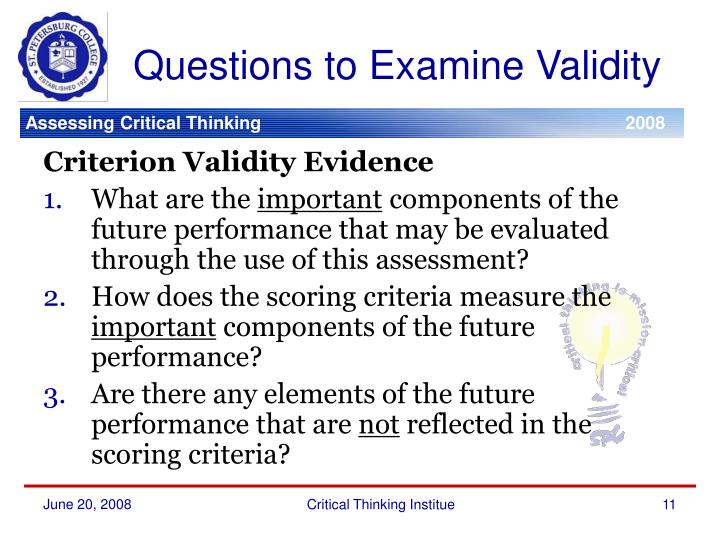 Questions to Examine Validity