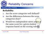 reliability concerns