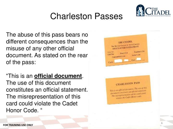 Charleston Passes