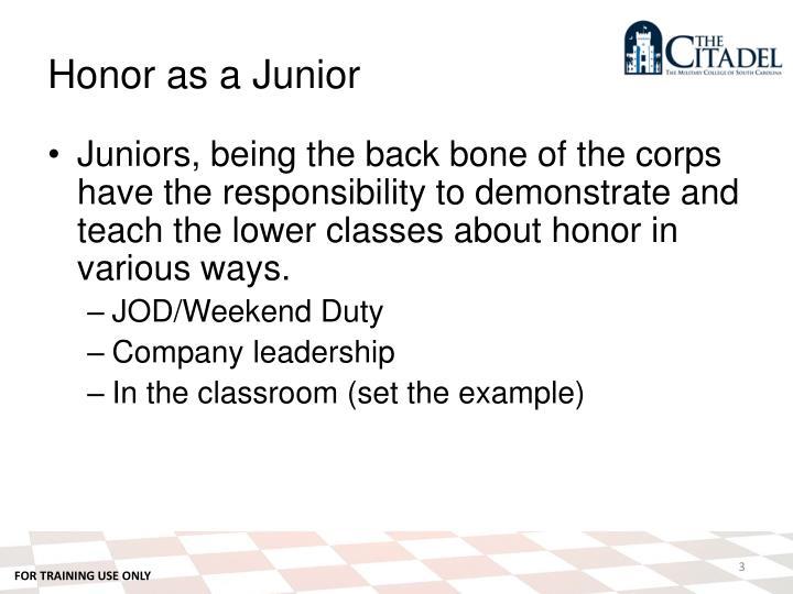 Honor as a Junior