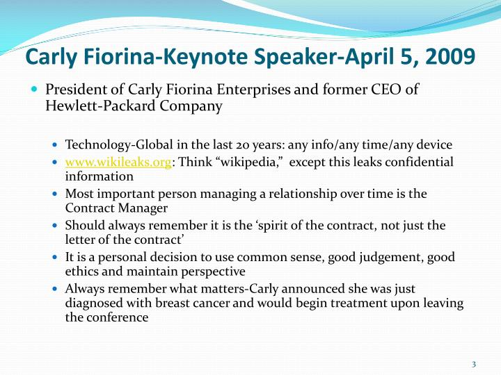 Carly fiorina keynote speaker april 5 2009