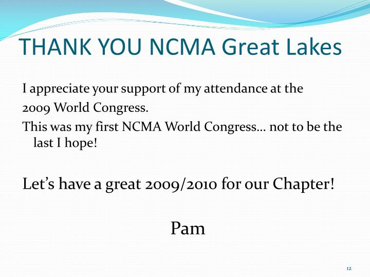THANK YOU NCMA Great Lakes