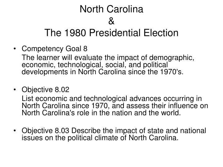 North carolina the 1980 presidential election