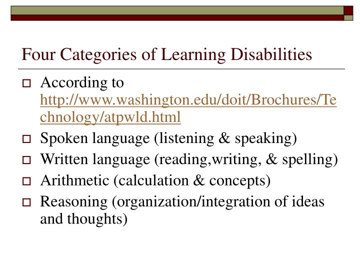 Four Categories of Learning Disabilities