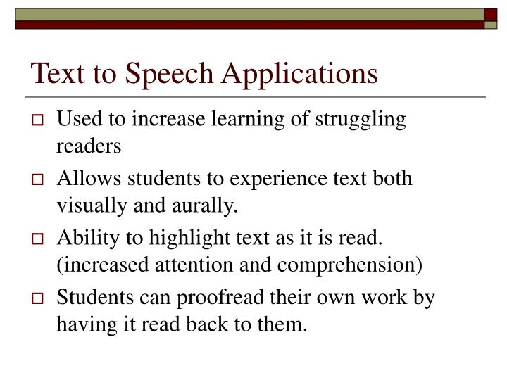 Text to Speech Applications